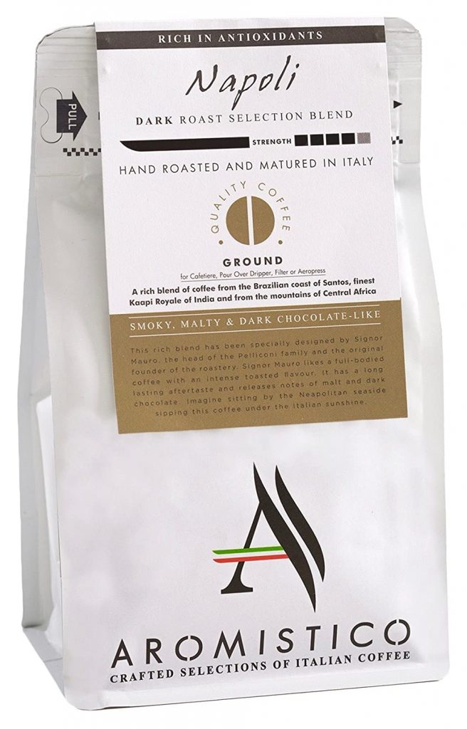 Aromostico Napoli blend ground coffee for French press