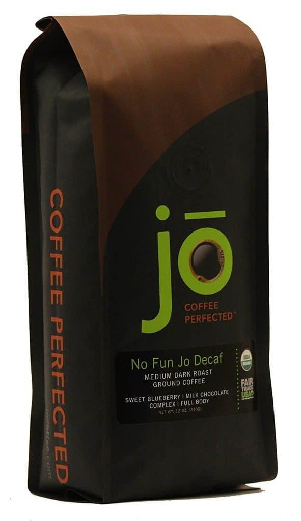 No Fun Jo organic decaf ground coffee