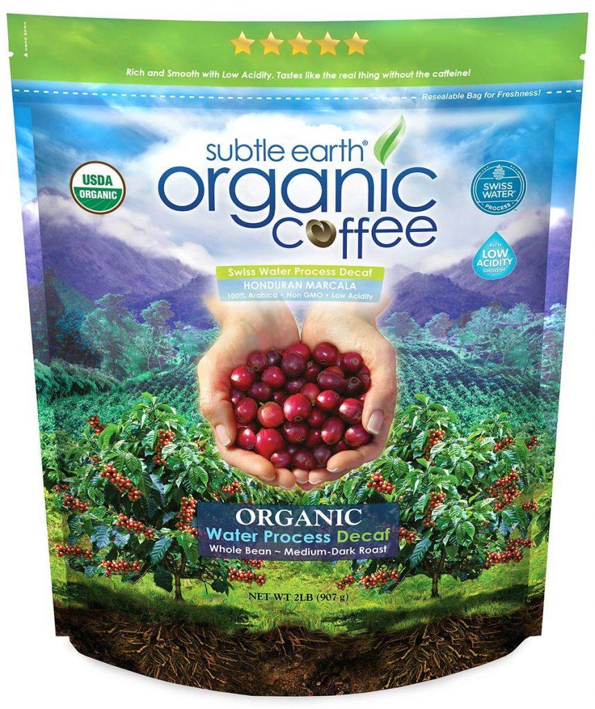 subtle earth organic decaf whole bean coffee